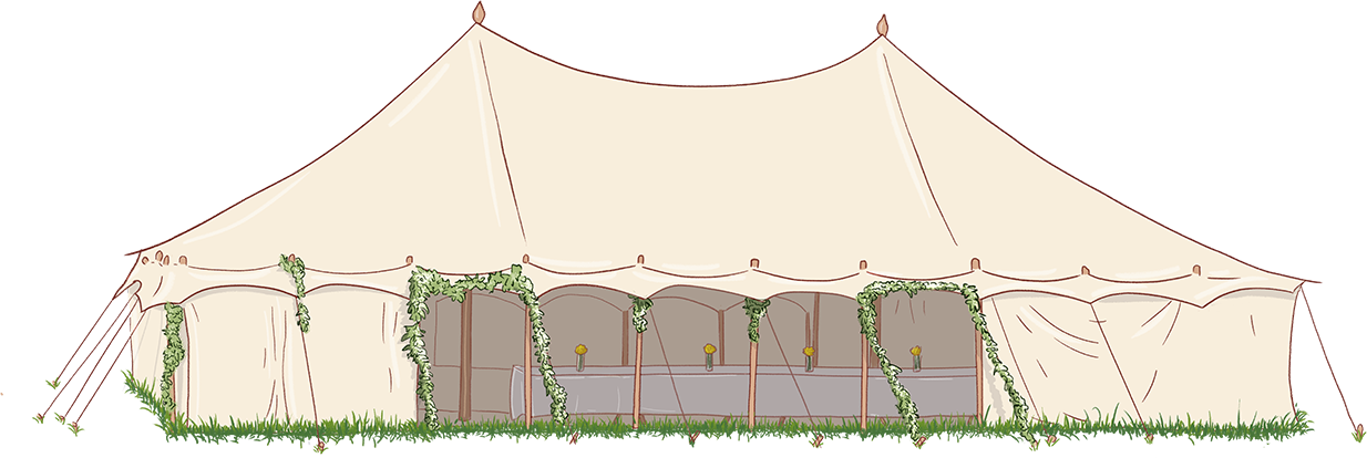 Illustration of a wedding marquee
