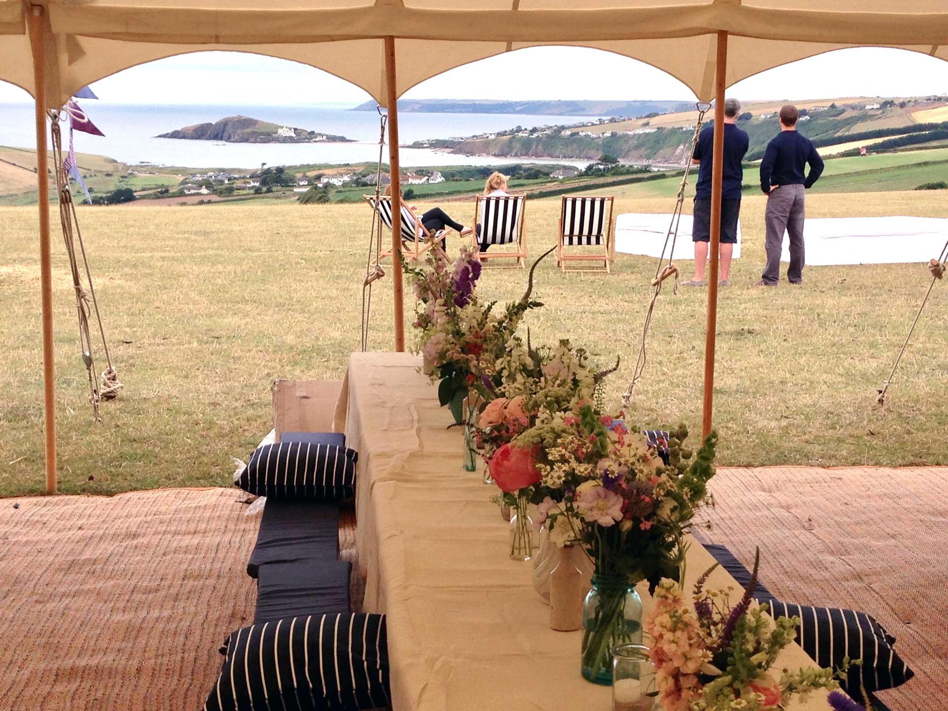A coastal wedding marquee