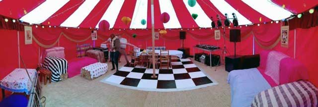 Inside a smaller circus tent