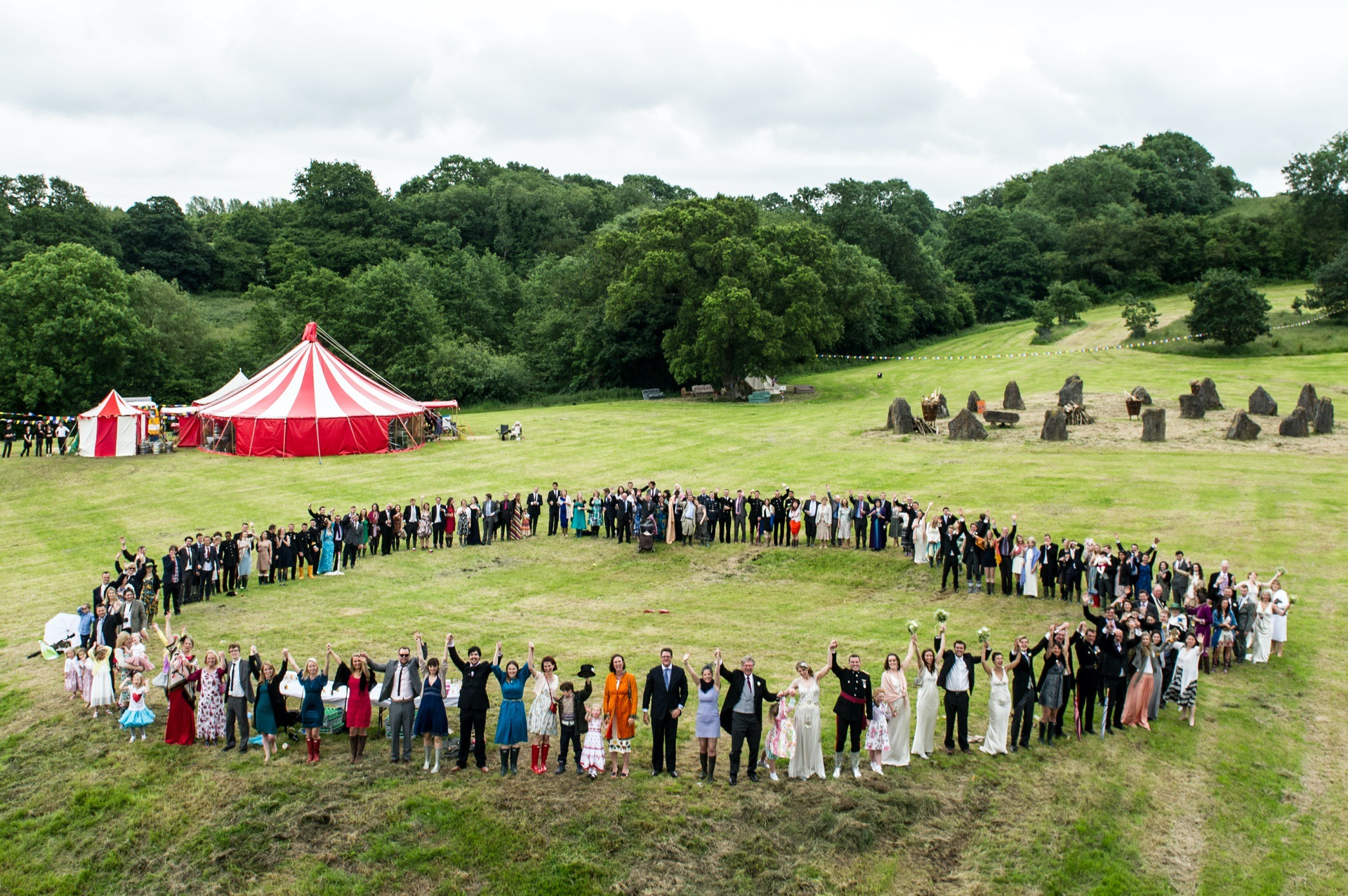 big festival wedding group photograph by a drone
