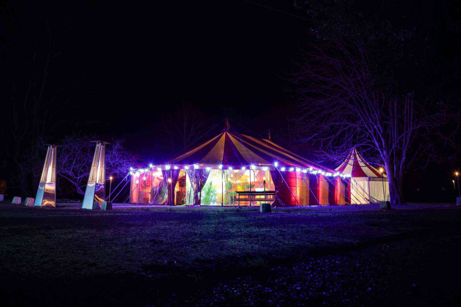 private marquee party at night in the south east uk