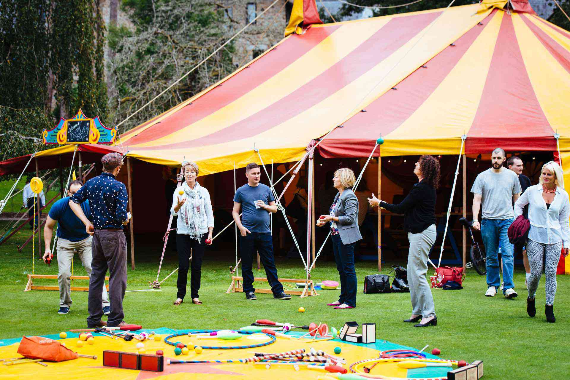 circus tent hire for corporate event in Devon