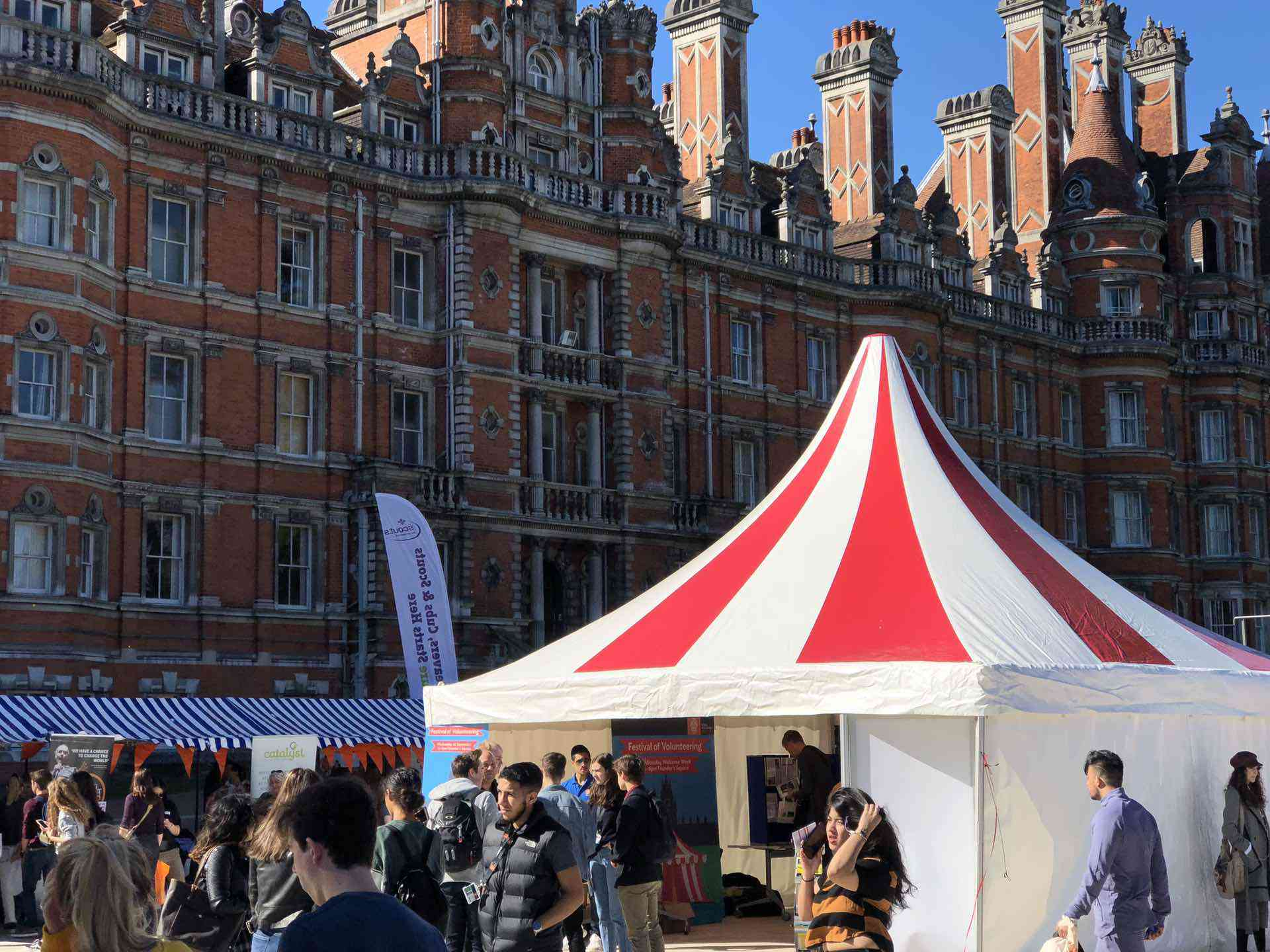 Royal Holloway student freshers fair event  marquee hire
