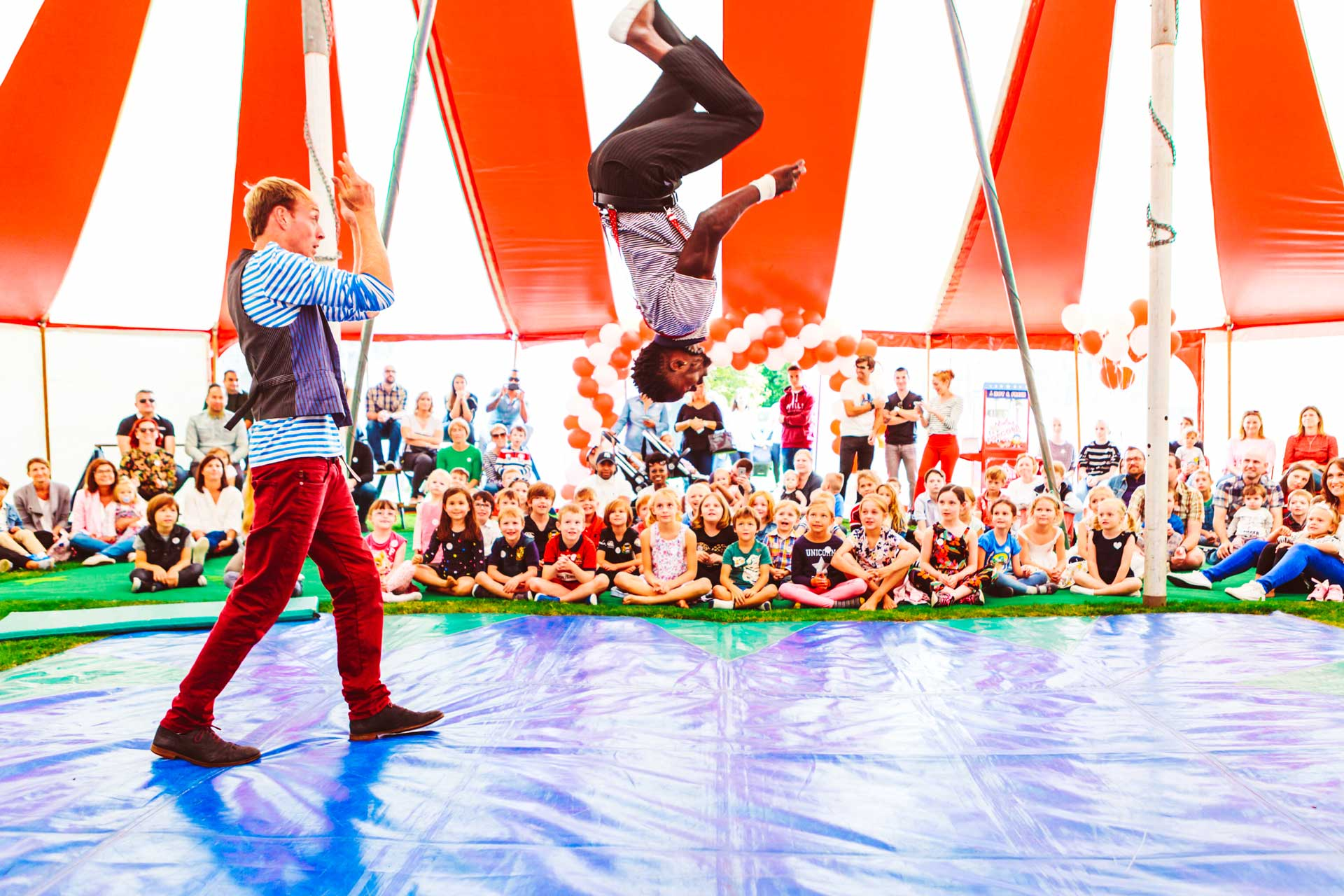acrobats in circus show that you can hire