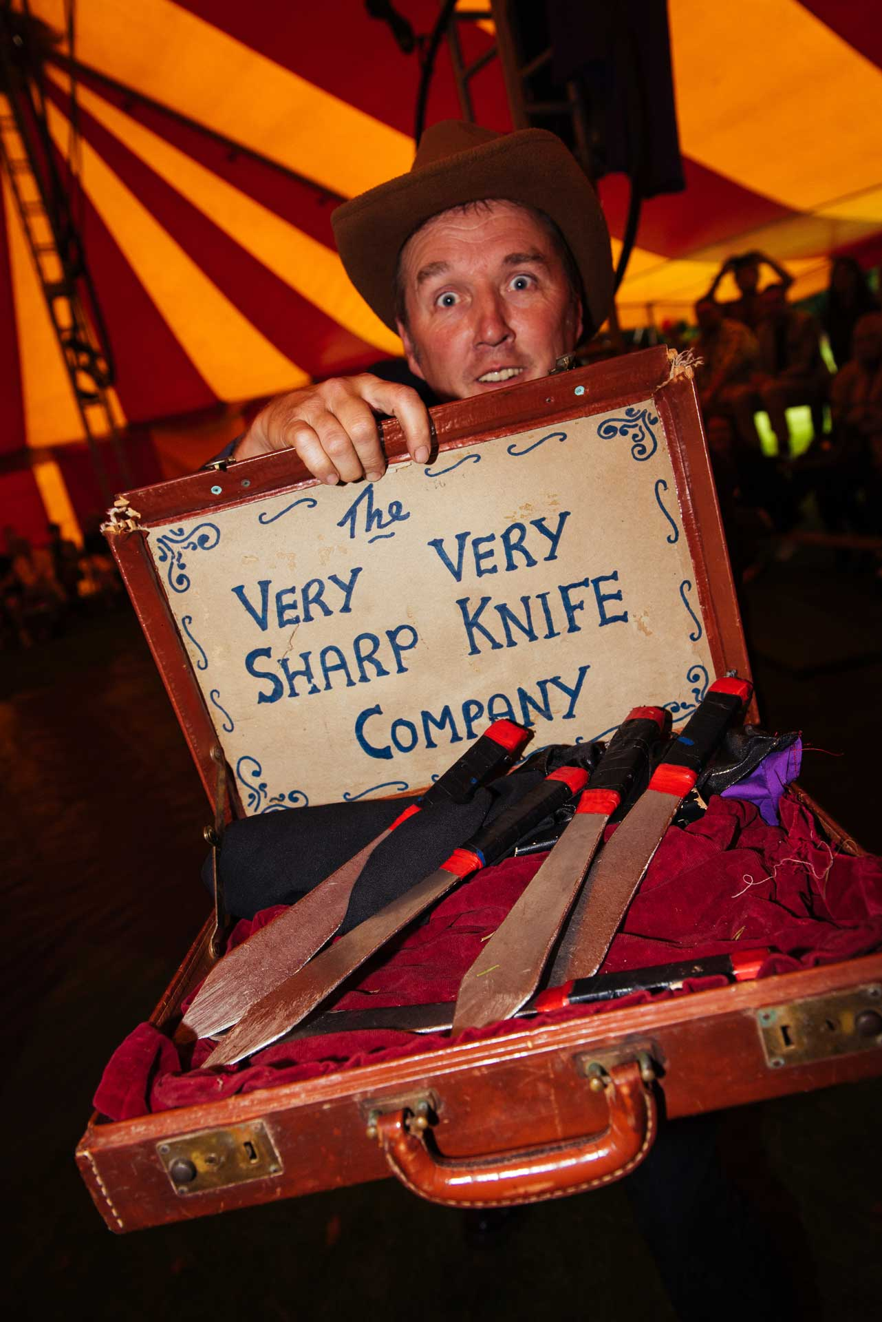 hire a comedy knife thrower as part of the circus show at your event in the uk