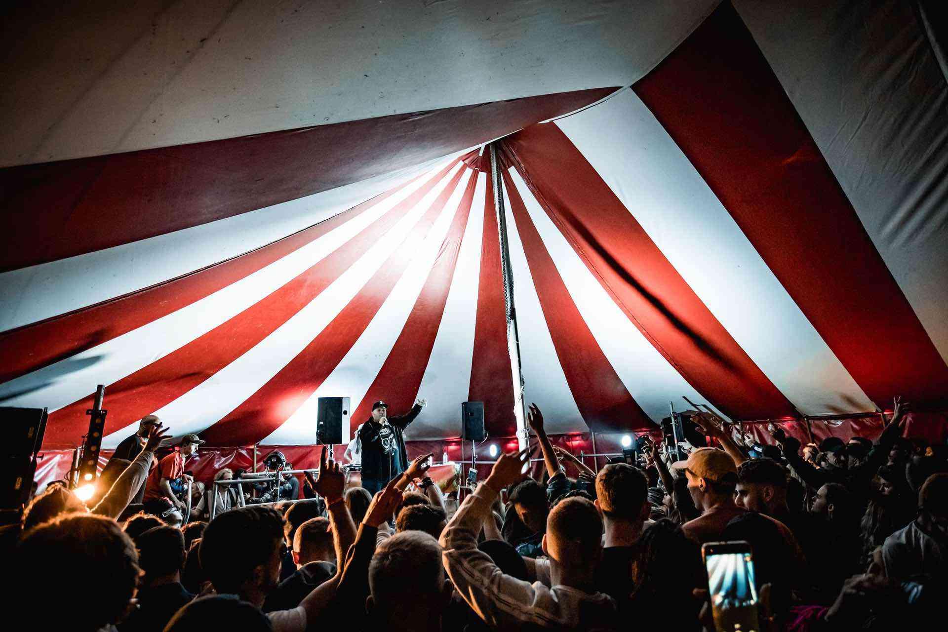 DJ Dance tent venue at cool beach festival in north devon uk