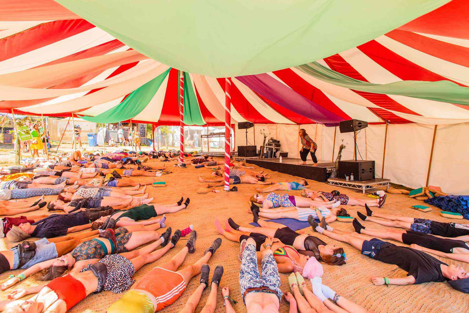 festival big top hire yoga tent at Camp Bestival in Dorset uk