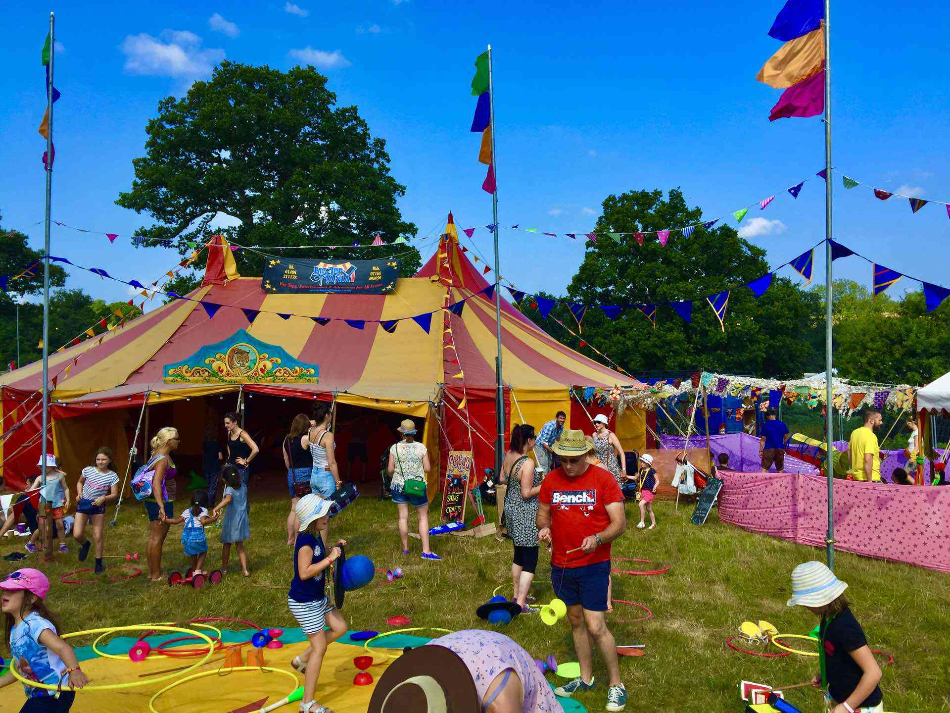 Bigtopmania play area at the Forgotten fields festival