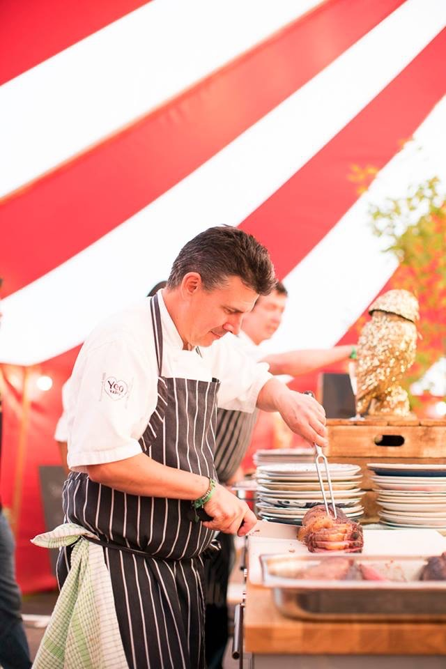 Chef cooking demonstration food festival marquee