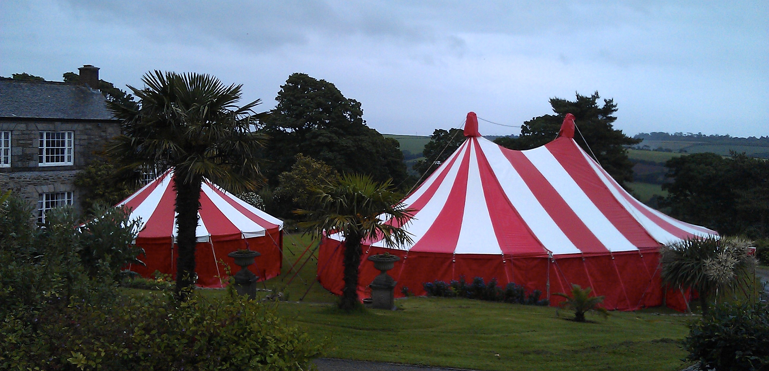 Candy striped  tent hire Cornwall