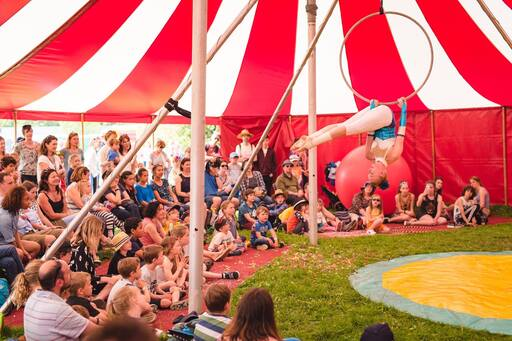Small circus show tent at festival