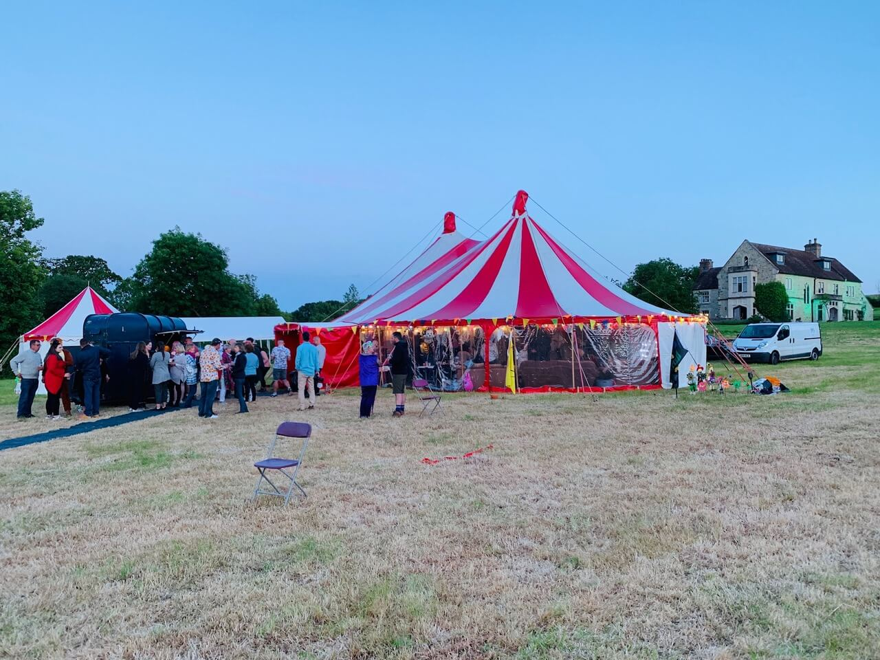 Adult circus birthday party tent