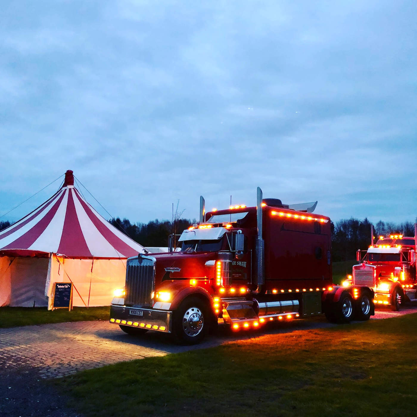 Monster trucks and circus tent