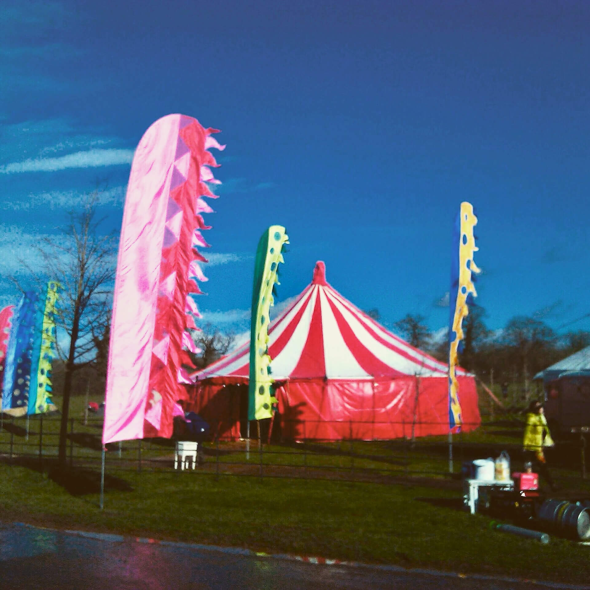 Colourful festival flags and marquees