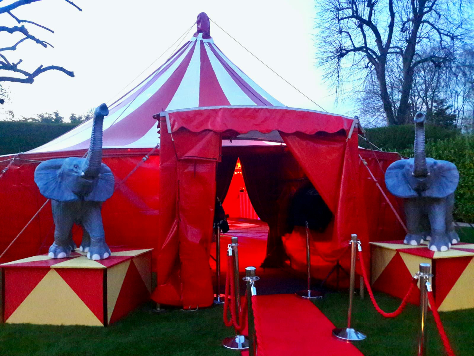Circus party tent entrance