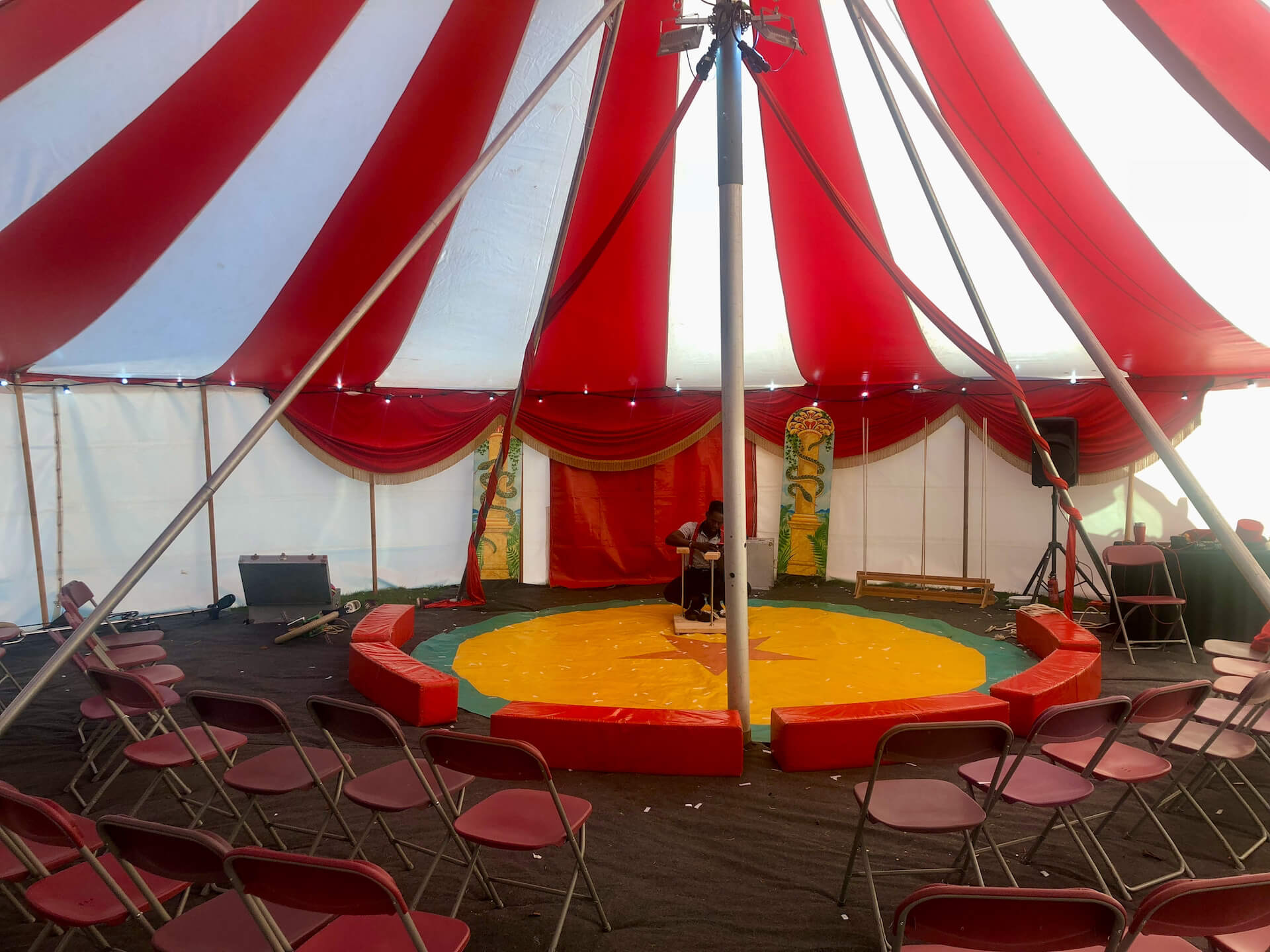 Small circus show ring in tent