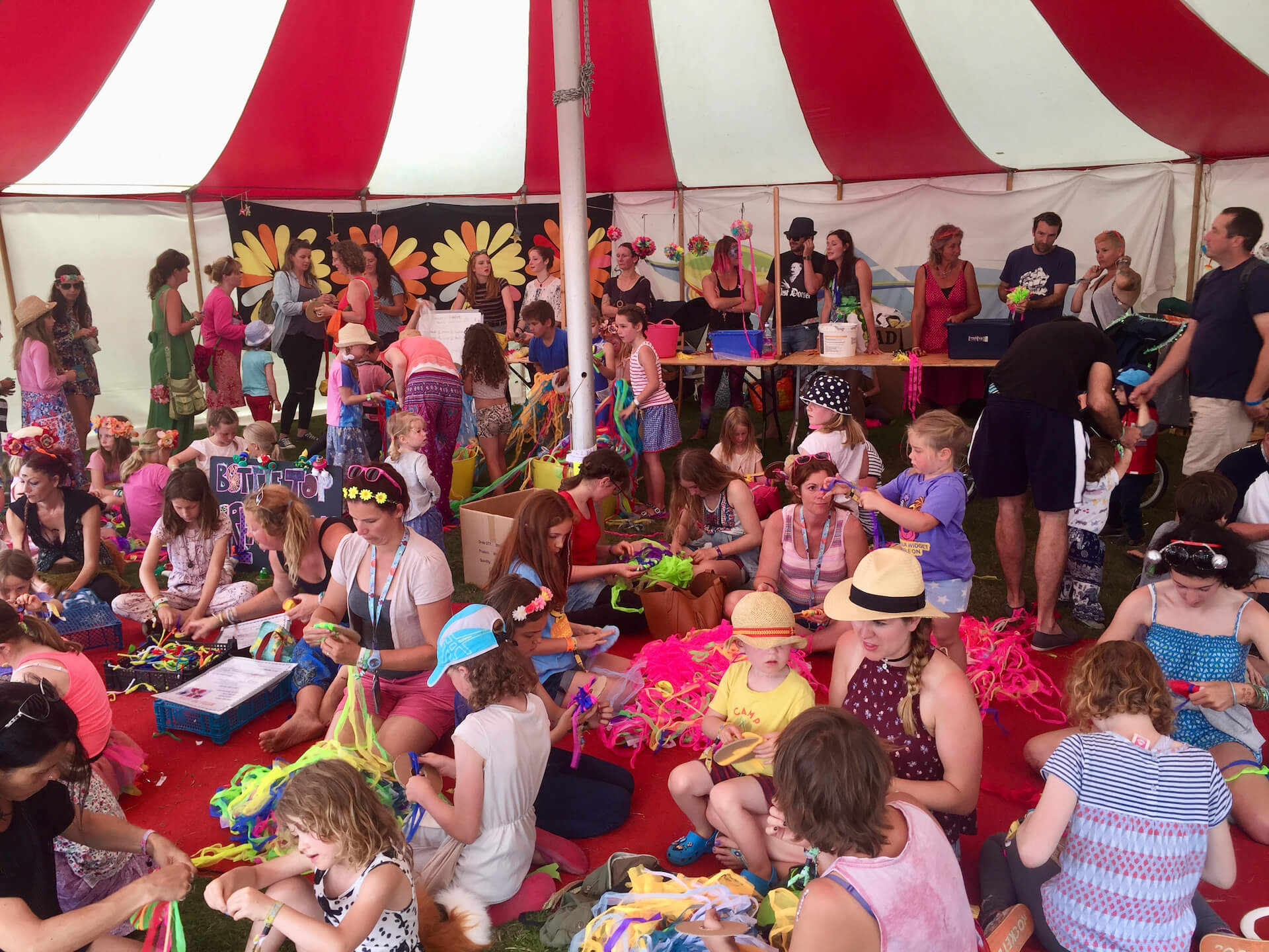 Children's craft marquee at a festival