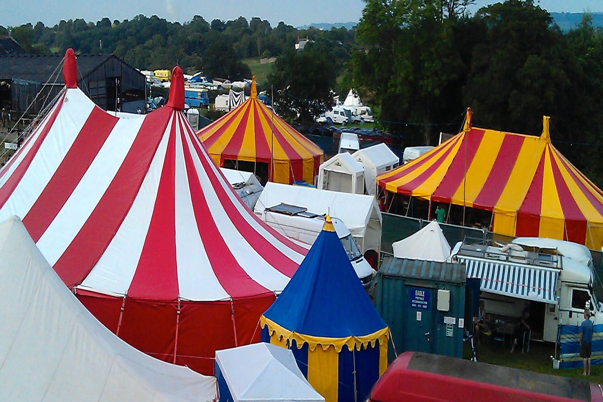 Colourful circus marquees from Bigtopmania  at Croissant Neuf festival Usk