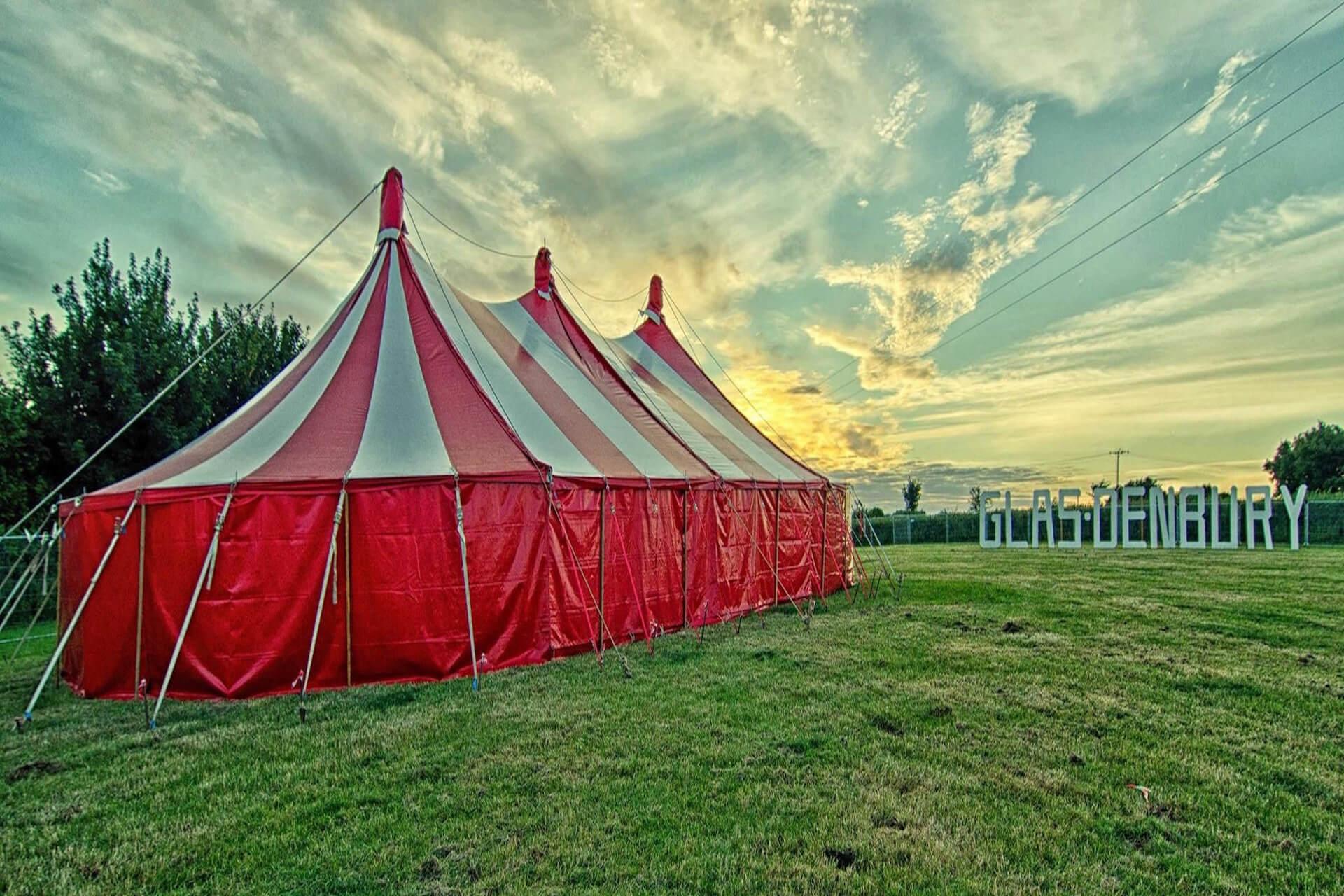 Glasdenbury festival big top venue Devon