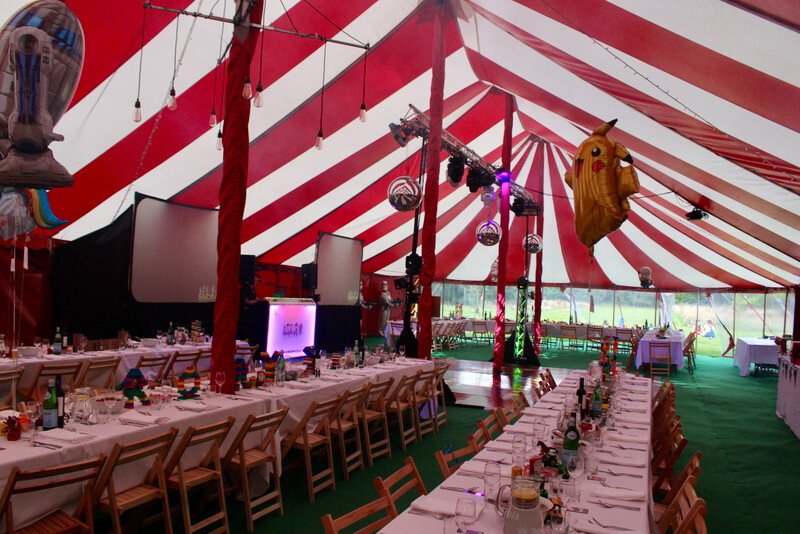 Amazing 21st circus theme birthday party tent