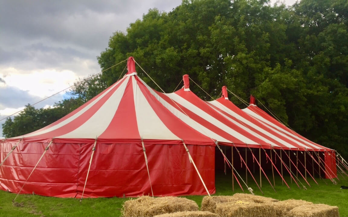 Clotted Cream, our  4 king pole red & white marquee