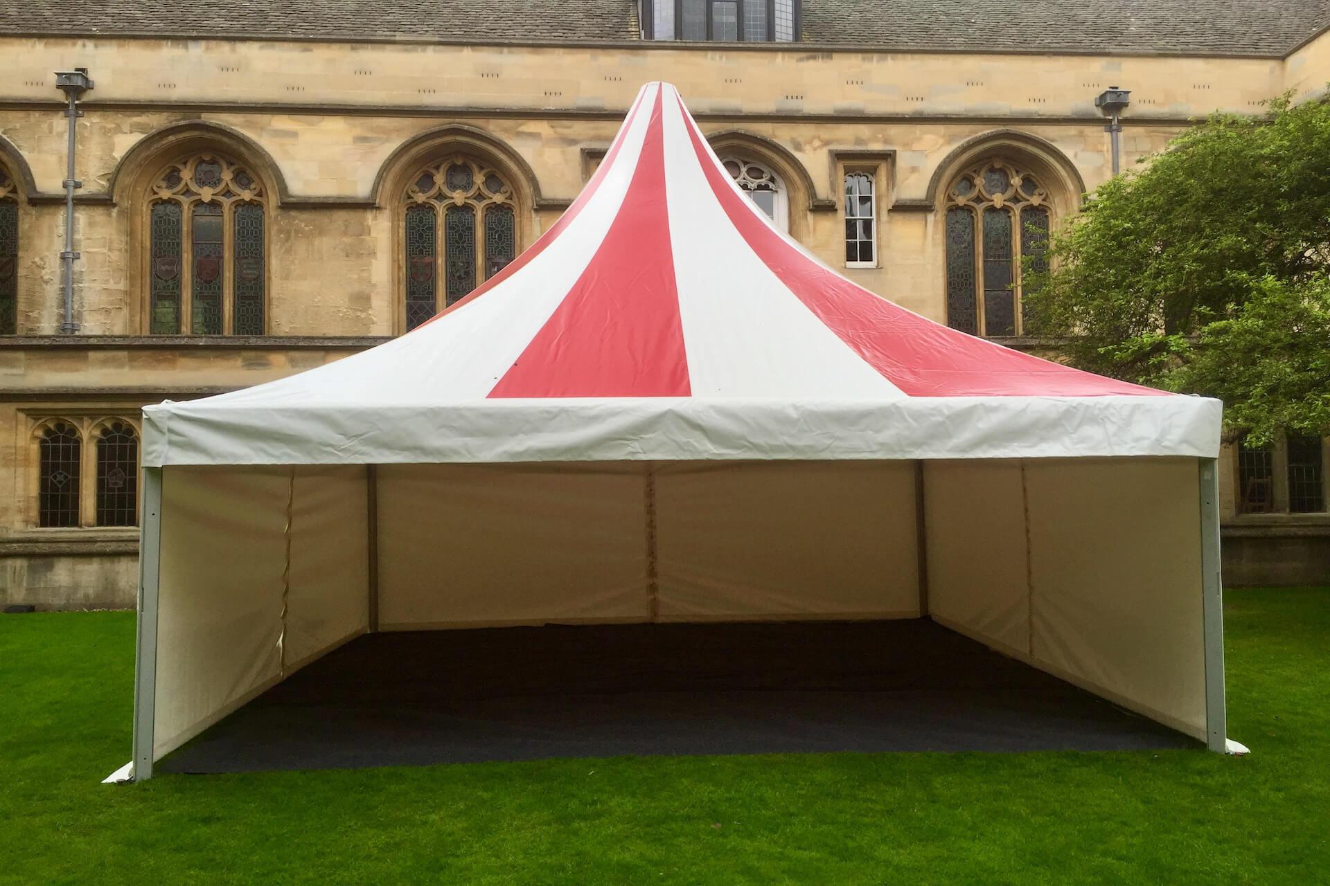 Square pagoda tent at university student ball