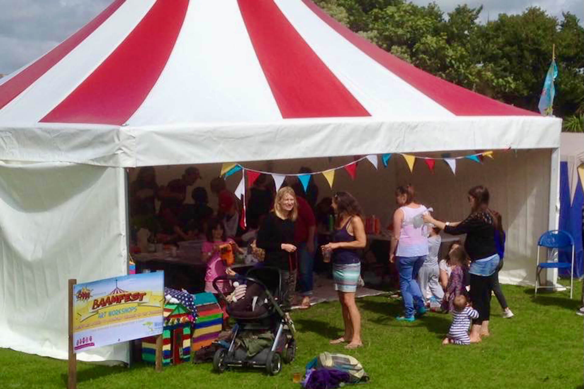 Children's tent at BAAM festival Bude north Cornwall