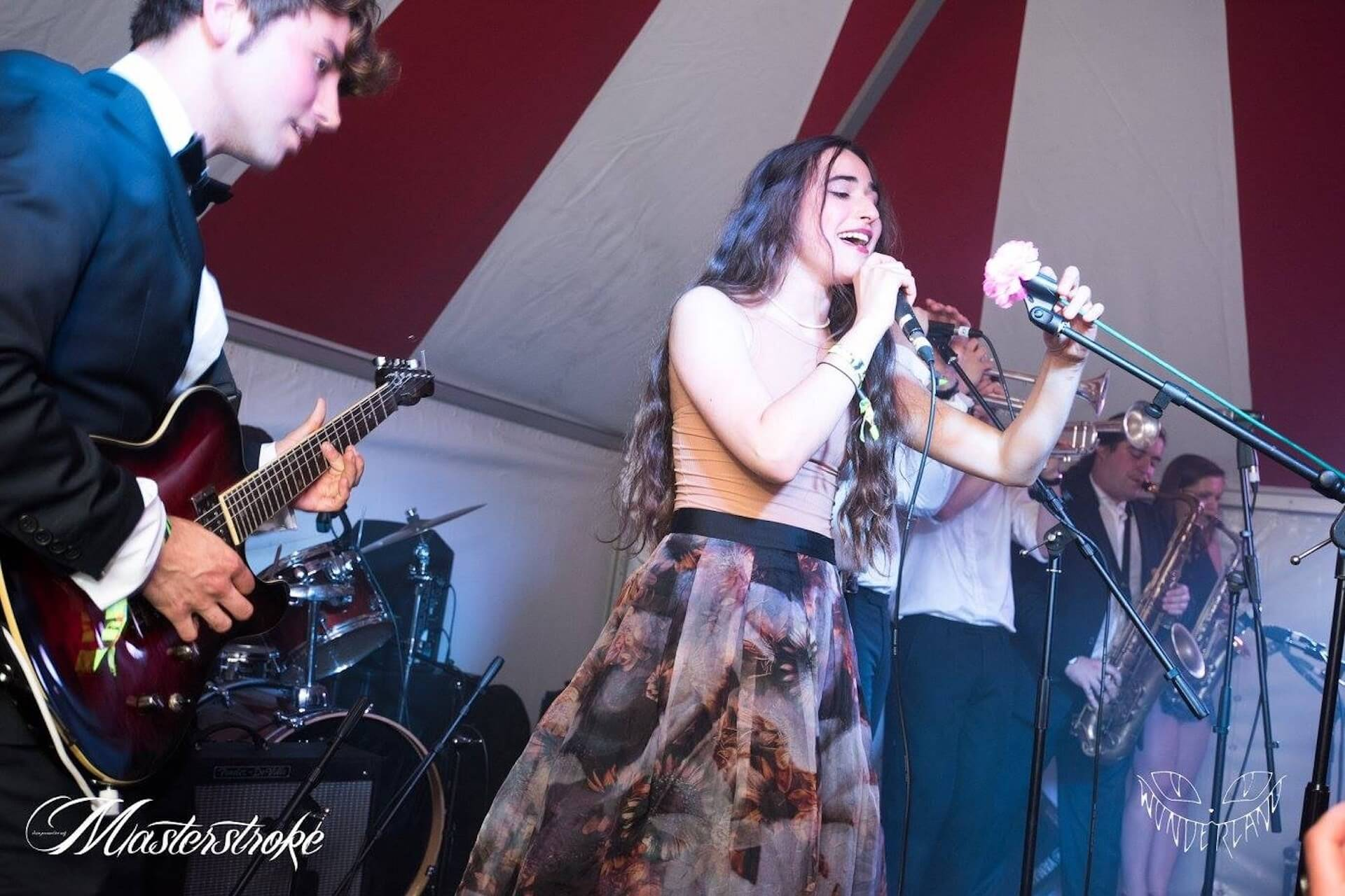 Band playing in party tent