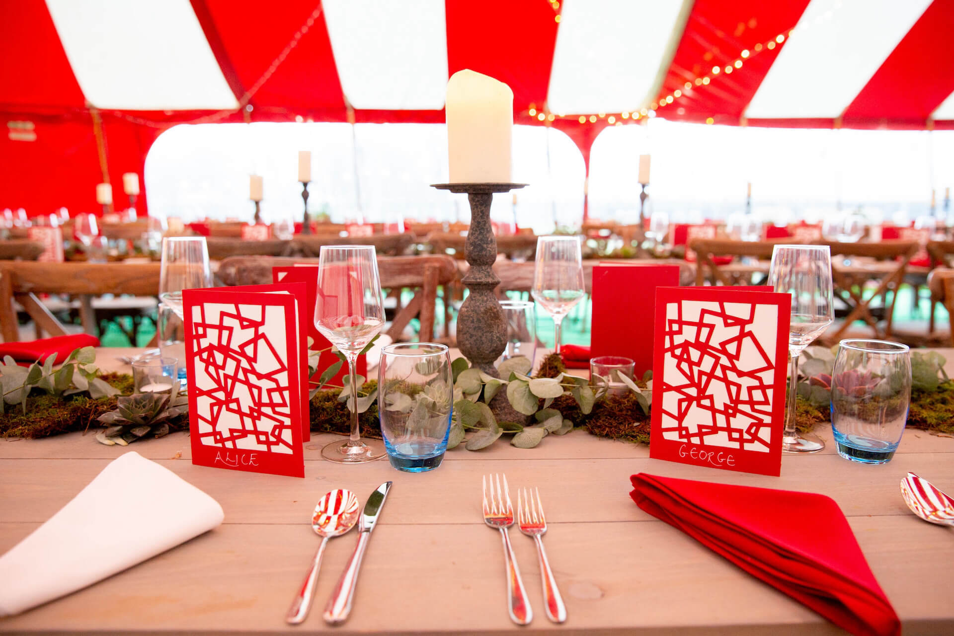 Best red and white tablescape in wedding marquee