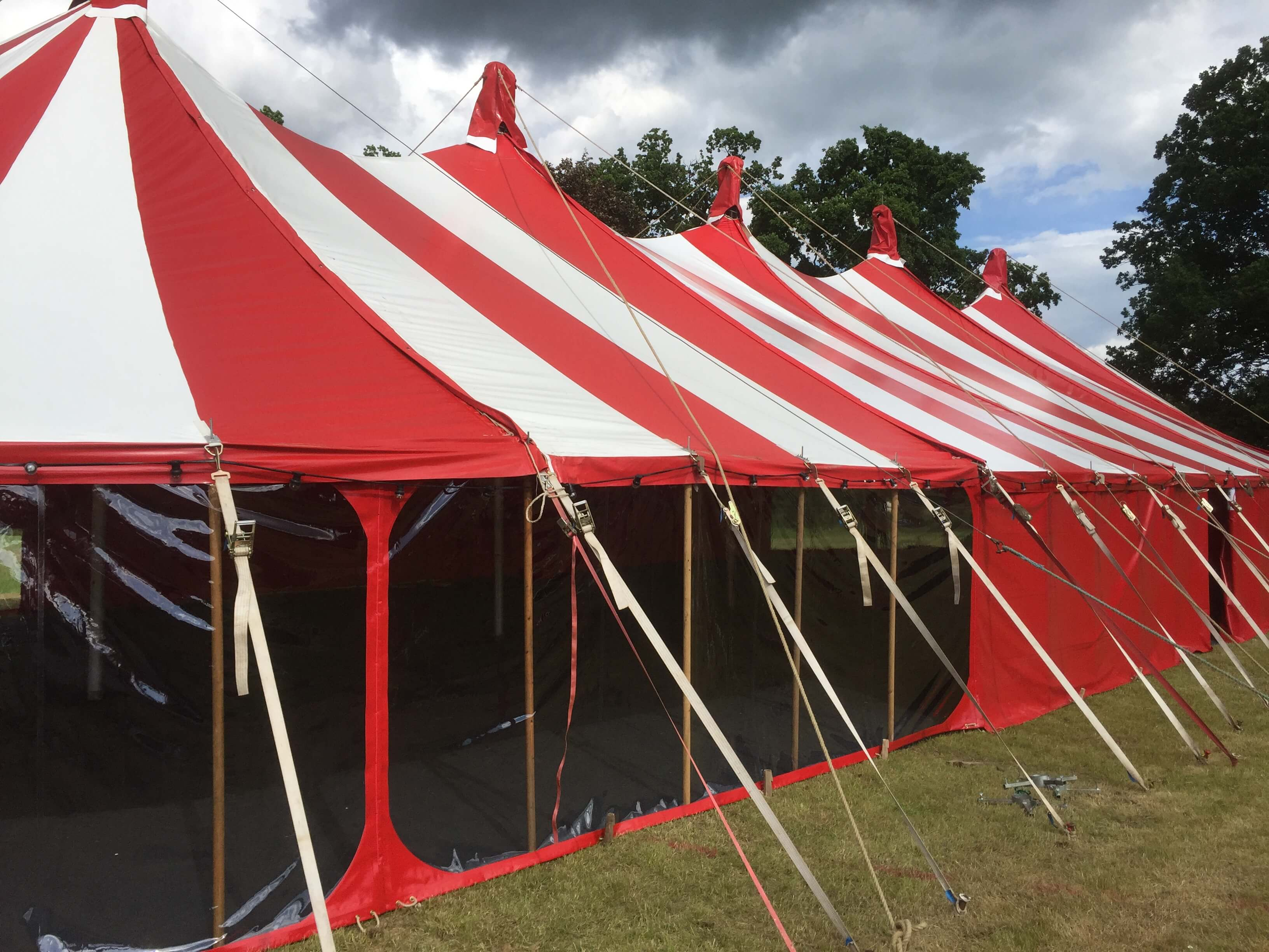 Window Walls on a big red & white Big Top
