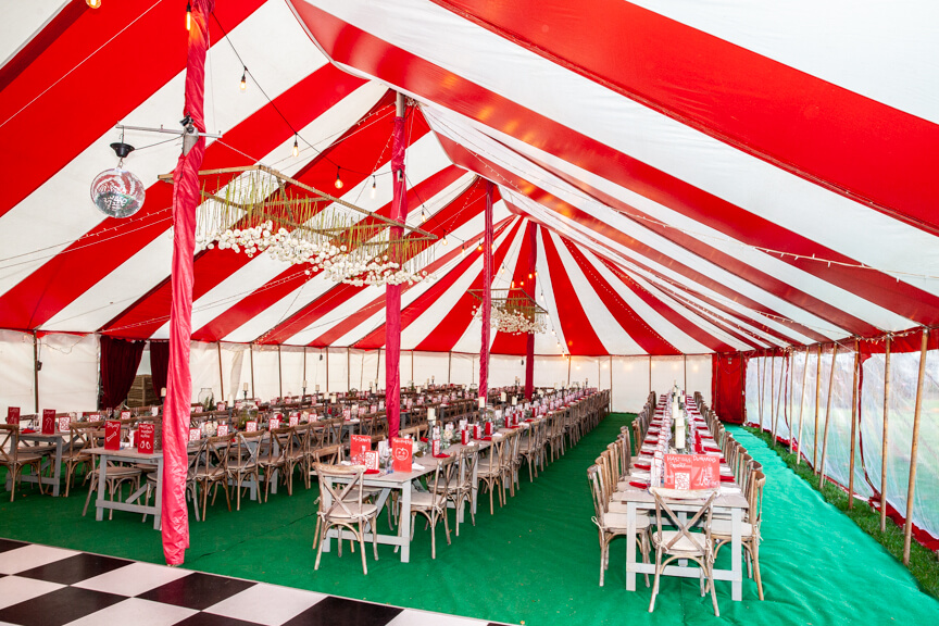 Dressed red & white marquee with window walls