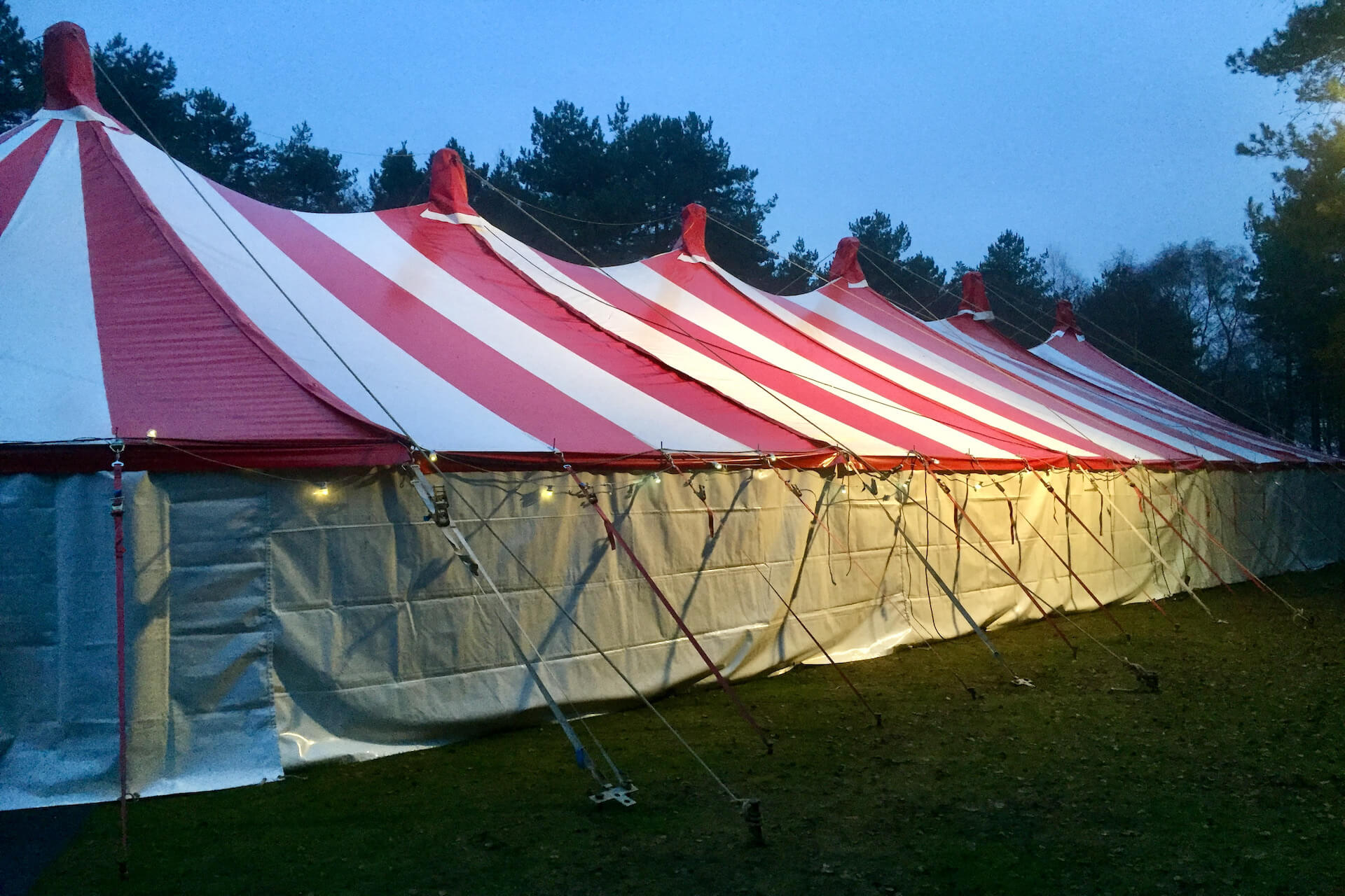 Long colourful tent for hire Bristol