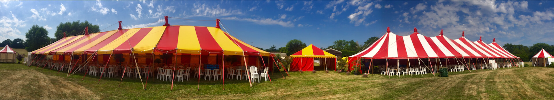 2 colourful large marquees