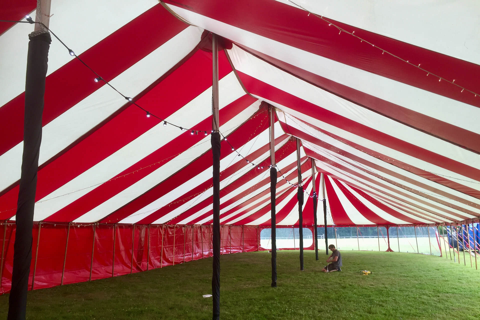 Inside large circus style tent Somerset