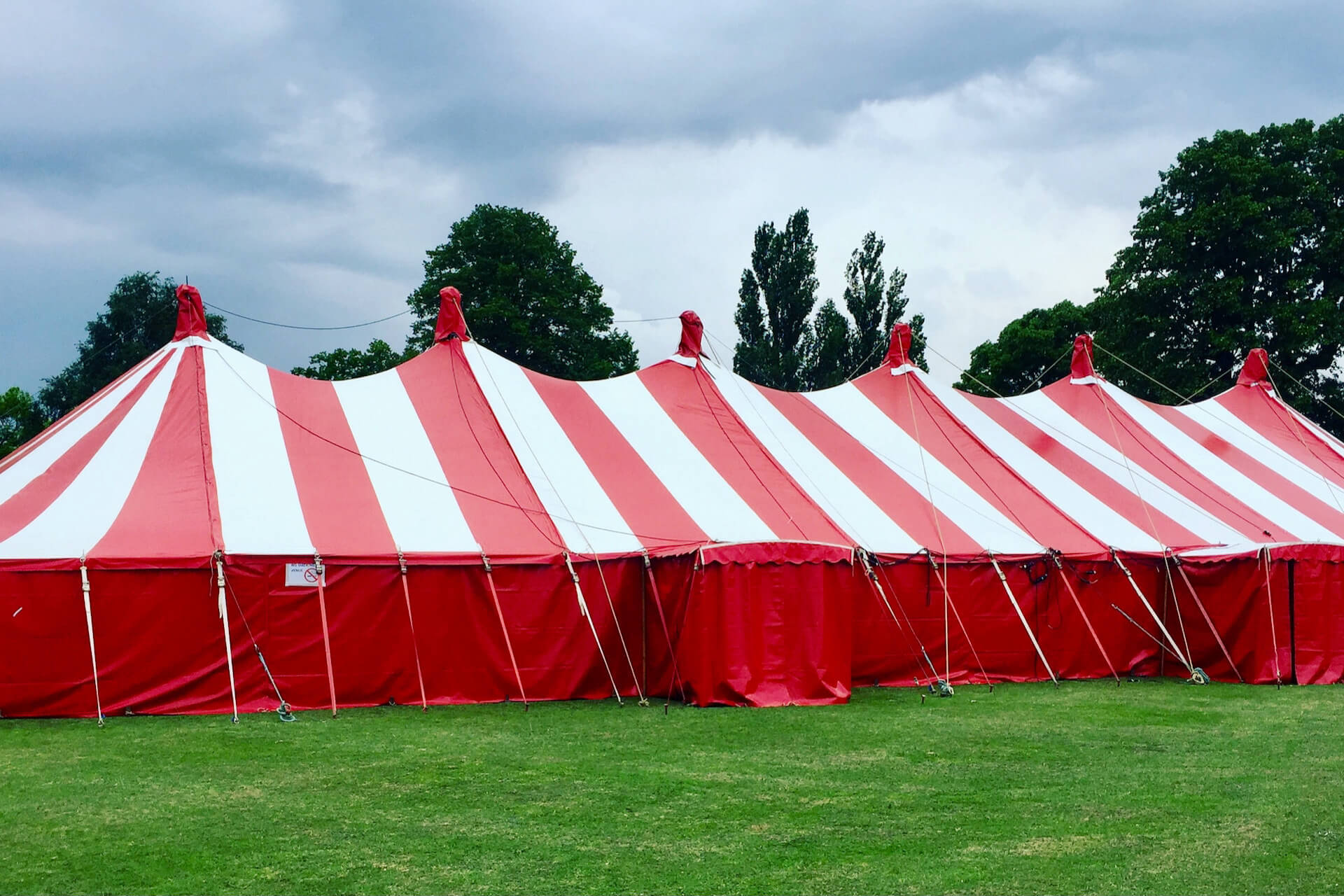 Big red and white marquee rentals