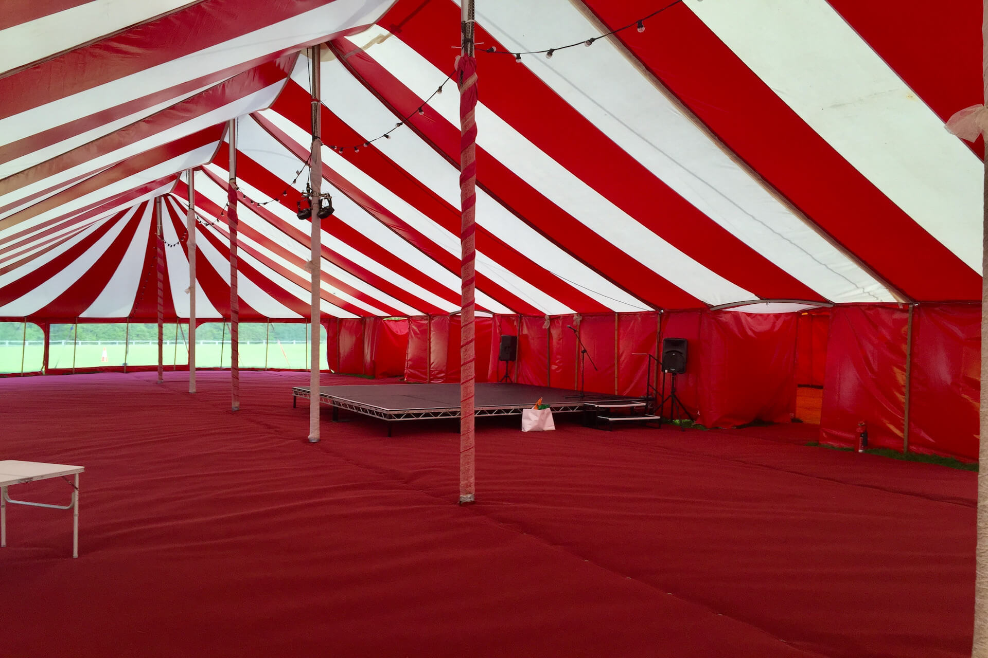 Inside our red and white big top marquee