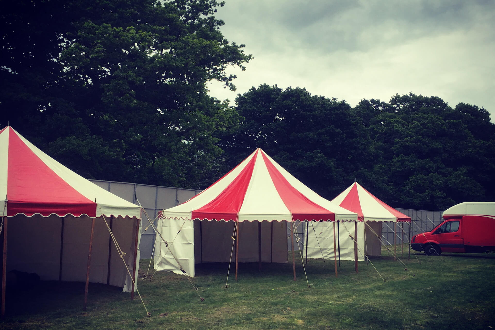Red & white festival marquees