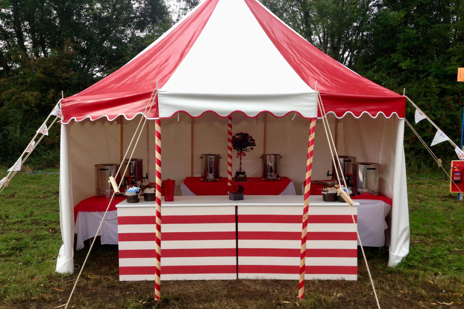 Colourful tea tent marquee