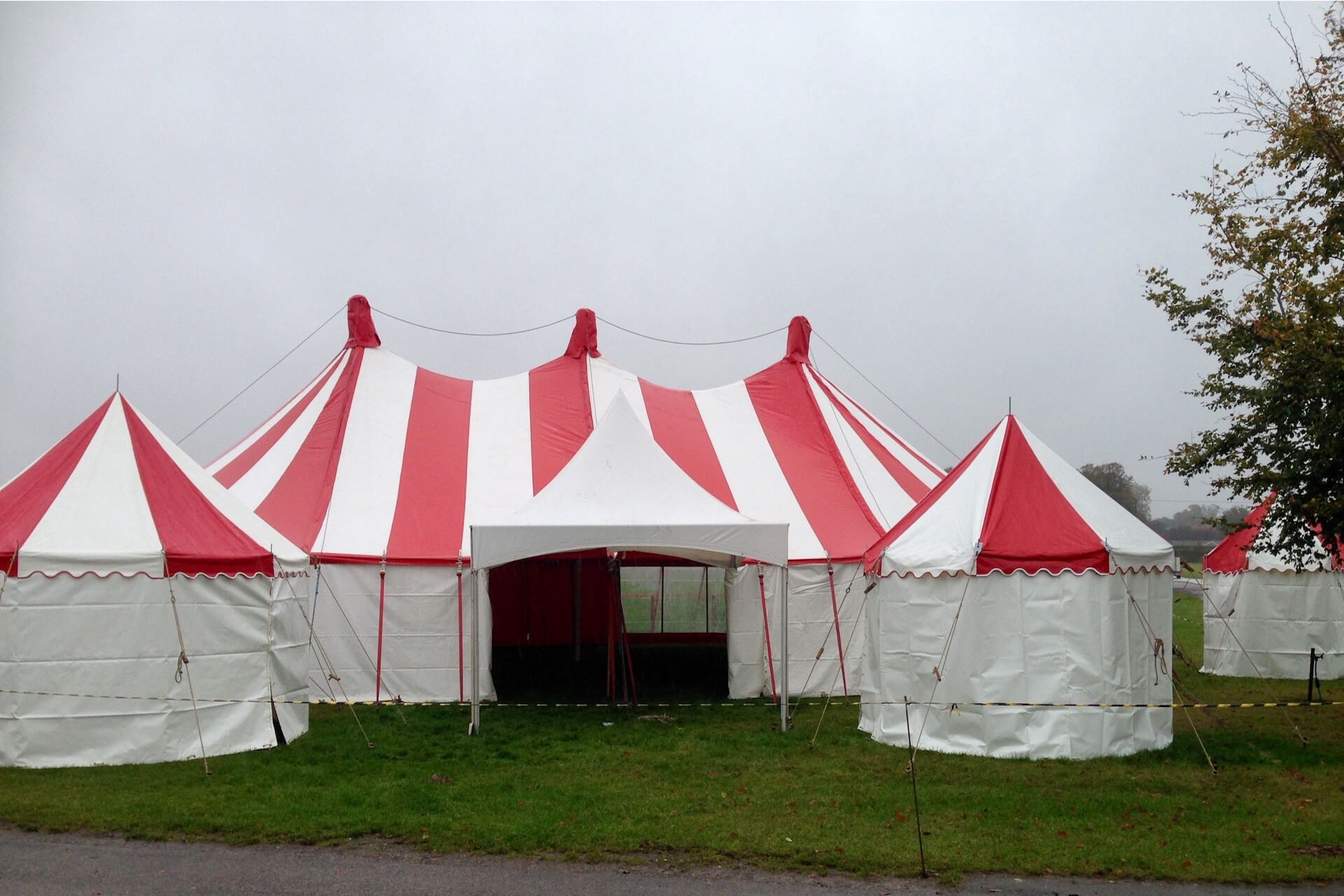 Lots of red & white marquees for hire and rent