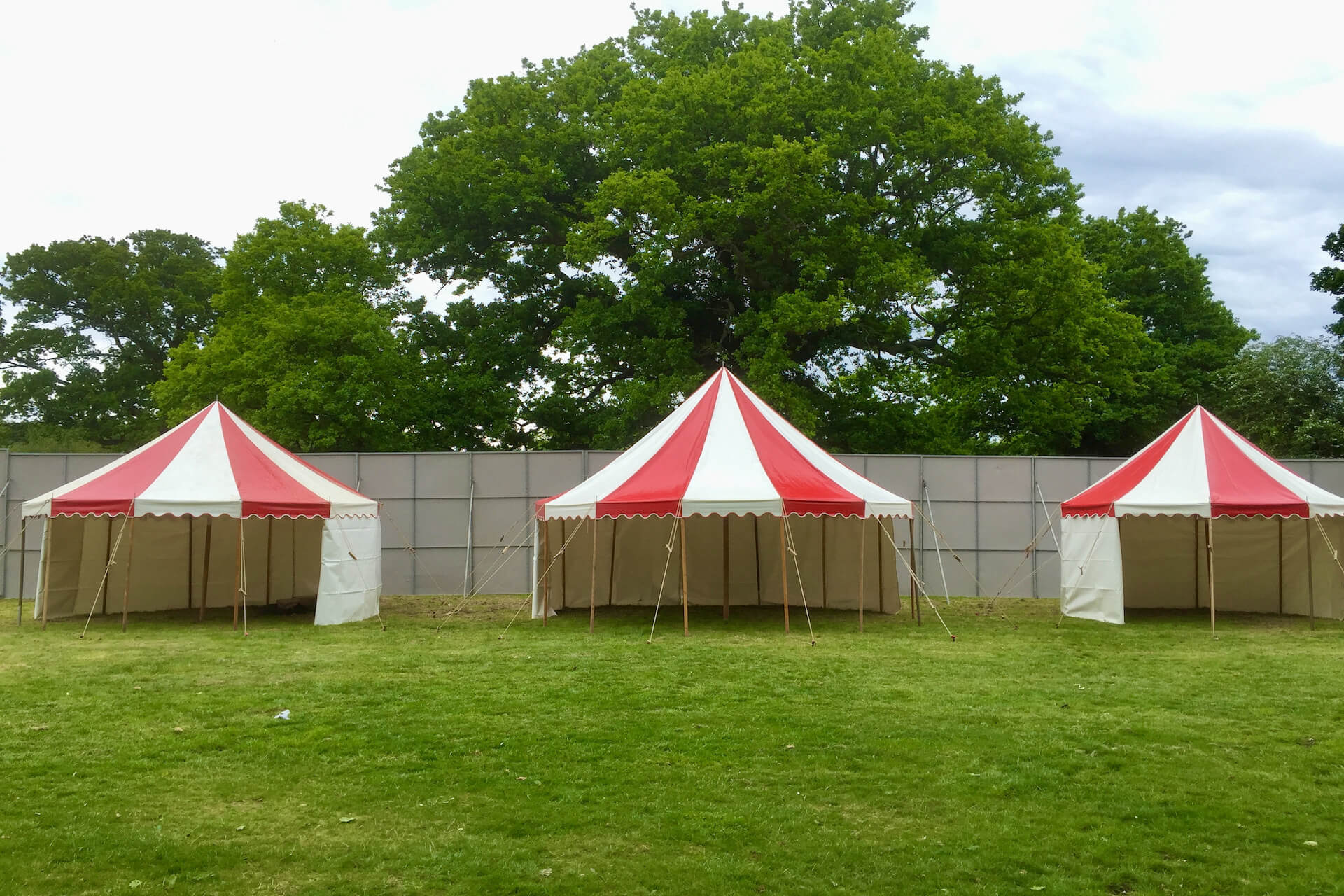 Small red and white tents for hire