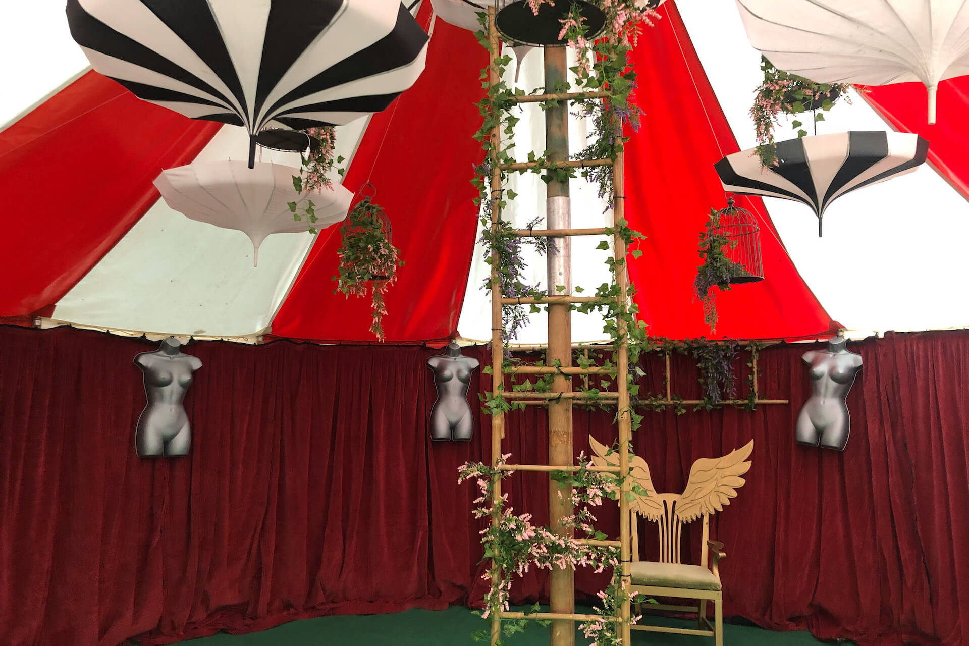 Decorated small tent for plush lounge