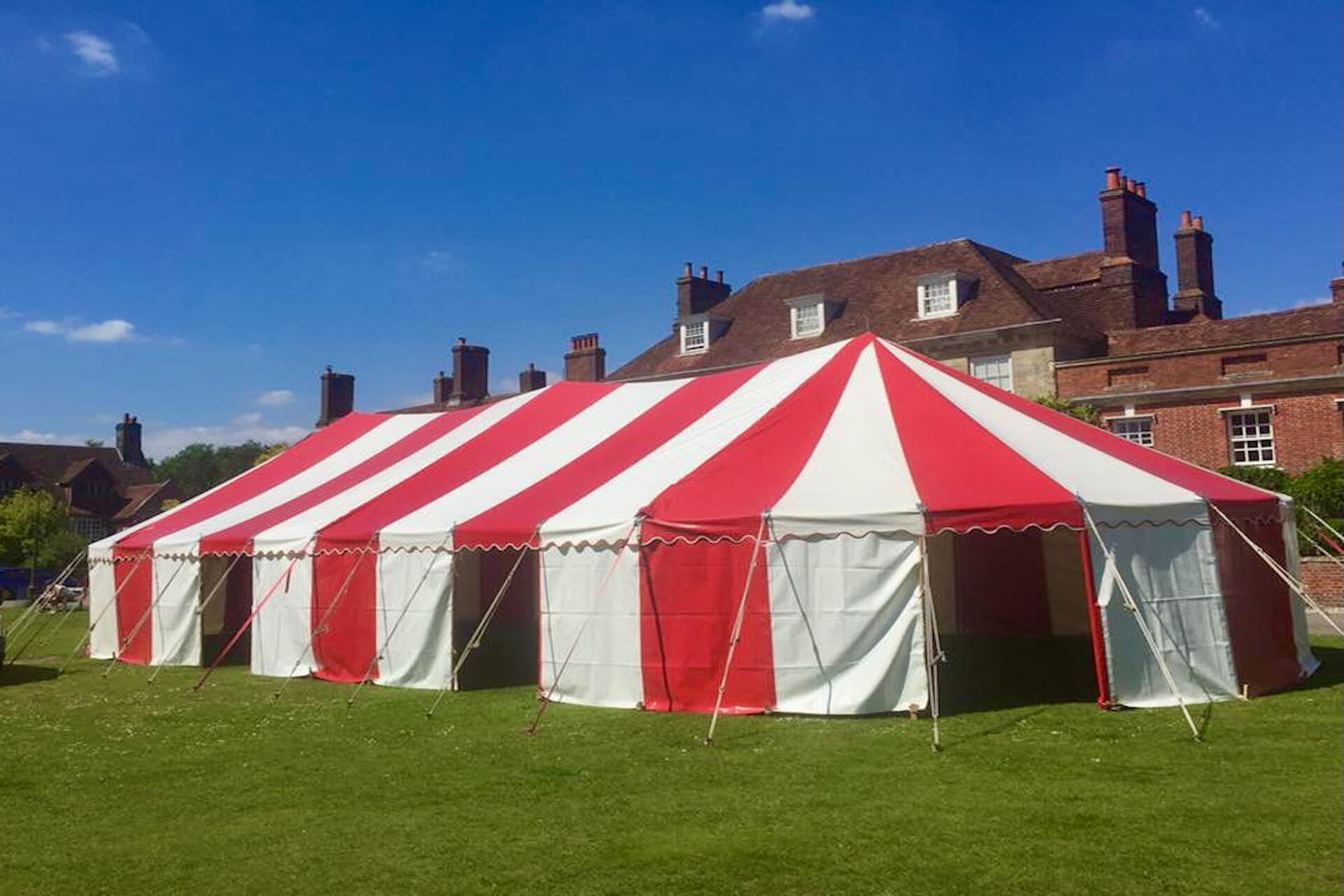 9m x 20m Candy striped marquee hire