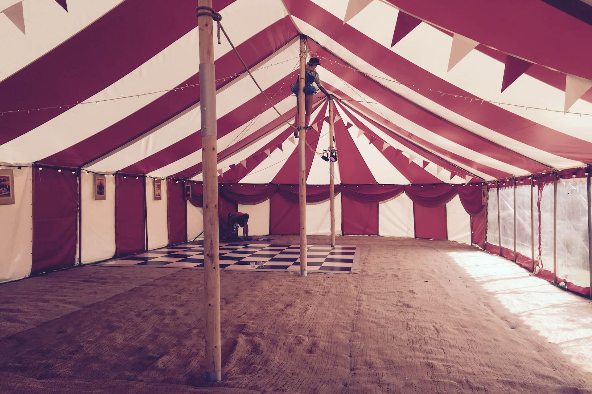 9m x 20m Circus marquee interior