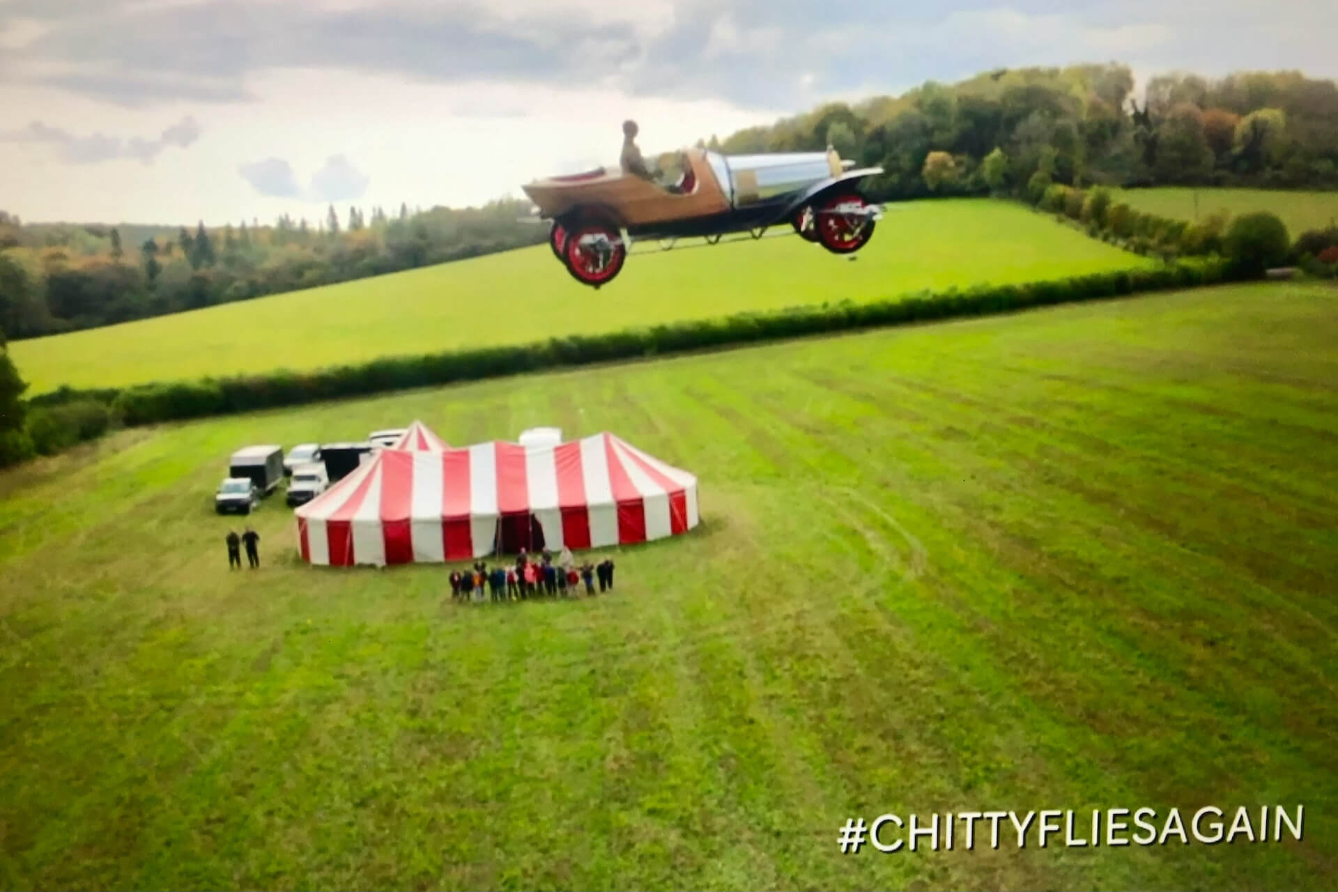 Chitty Chitty Bang Bang flies over our marquee