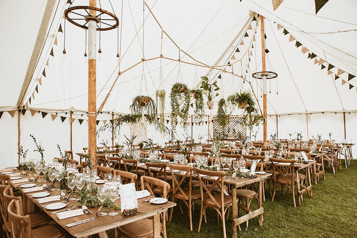 Gorgeous outdoor wedding breakfast in marquee in Thameside location in Henley on Thames