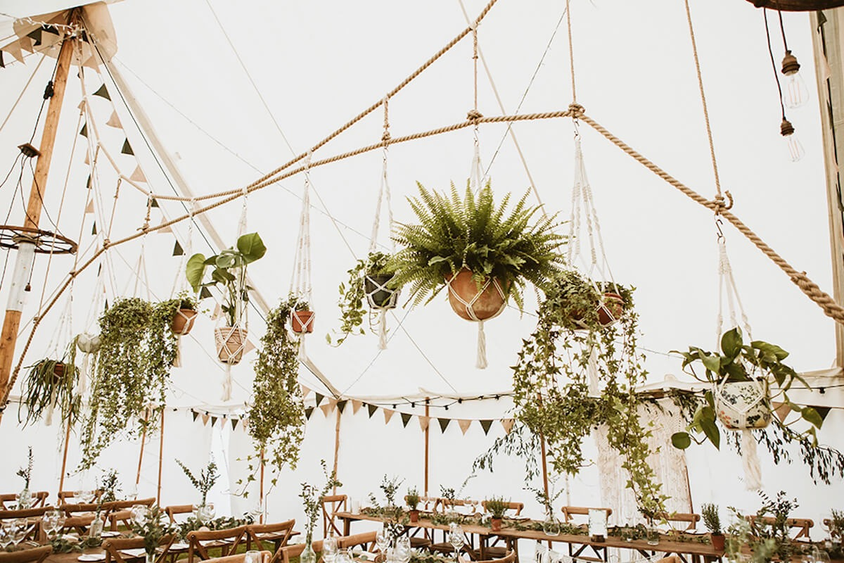 Macrame Jungle plant hangers for wedding marquee decorations