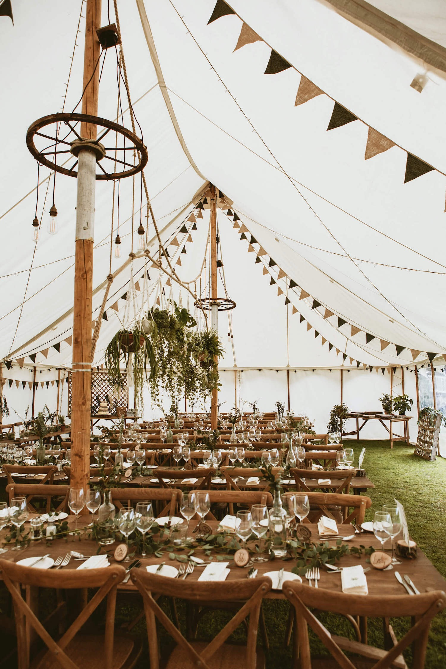 Eco-wedding inspiration using canvas wedding marquee and natural decorations in Henley, near Reading