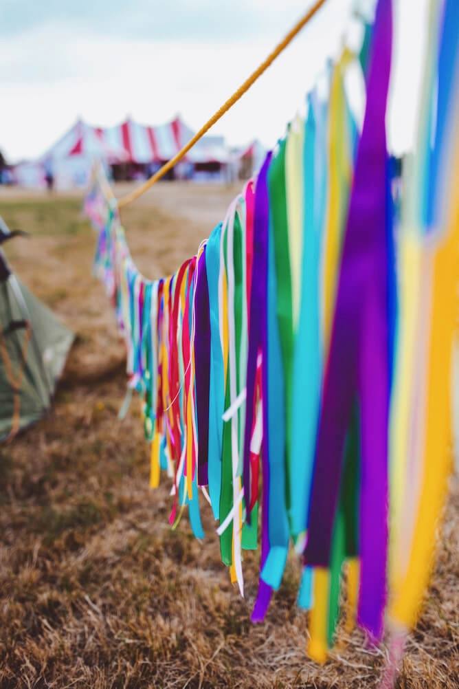 Colourful diy bunting at Wedfest