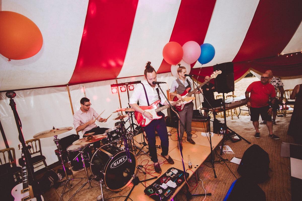 Band playing at alternative festival theme wedding