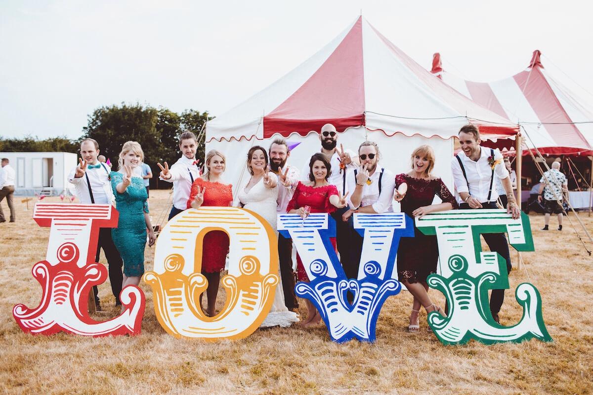 Abbie & Kieran wedding  lovefest giant LOVE letters.